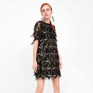 Zara fringe sequin dress